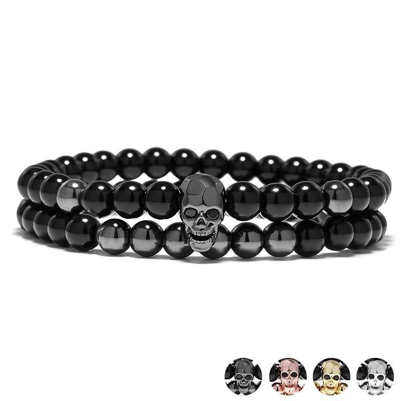 YUXI Steampunk Metal Smile Skull Bracelets Set Elastic Black Beads Chain Skeleton Men Bracelets Sets Male Hand Accessories