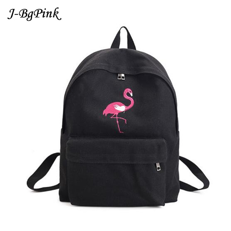 Women Backpack Flamingo Rose Embroidery White Black Canvas School Bags For Teenagers Girls Casual Travel Backpacks
