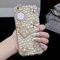 Pérola do diamante de bling caso coque para iphone 7 plus 7 6 6 s plus 5c 5 5S se 4S 4 para iphone7 espelho caso capa saco de Strass Fundas