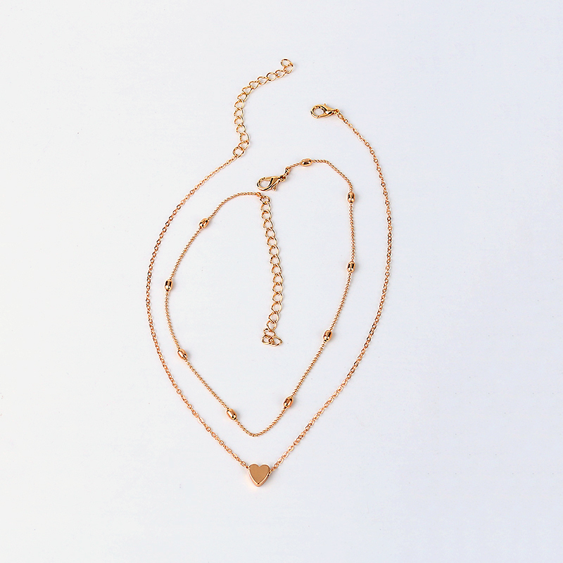 LWONG Simple Gold Silver Color Layered Chain Choker Necklace for Women Dainty Beaded Chain Tiny Heart Necklaces Chokers Jewelry 7