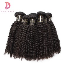 Dollface 10Pcs Human Hair Bundles Brazilian Hair Weave Bundles Kinky Curly Remy Hair Extension Free Shipping(China)