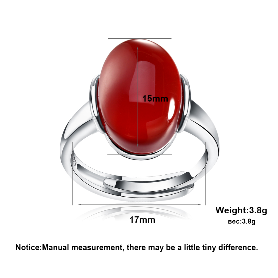 c9c10a2d39 2019 Genuine 925 Silver Rings With Big Green Red Natural Stone New ...
