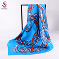 [BYSIFA] Spring Summer Blue Silk Scarf Ladies Fashion Accessories Brand Large Square Scarves Headscarves Winter Silk SCcarf Cape