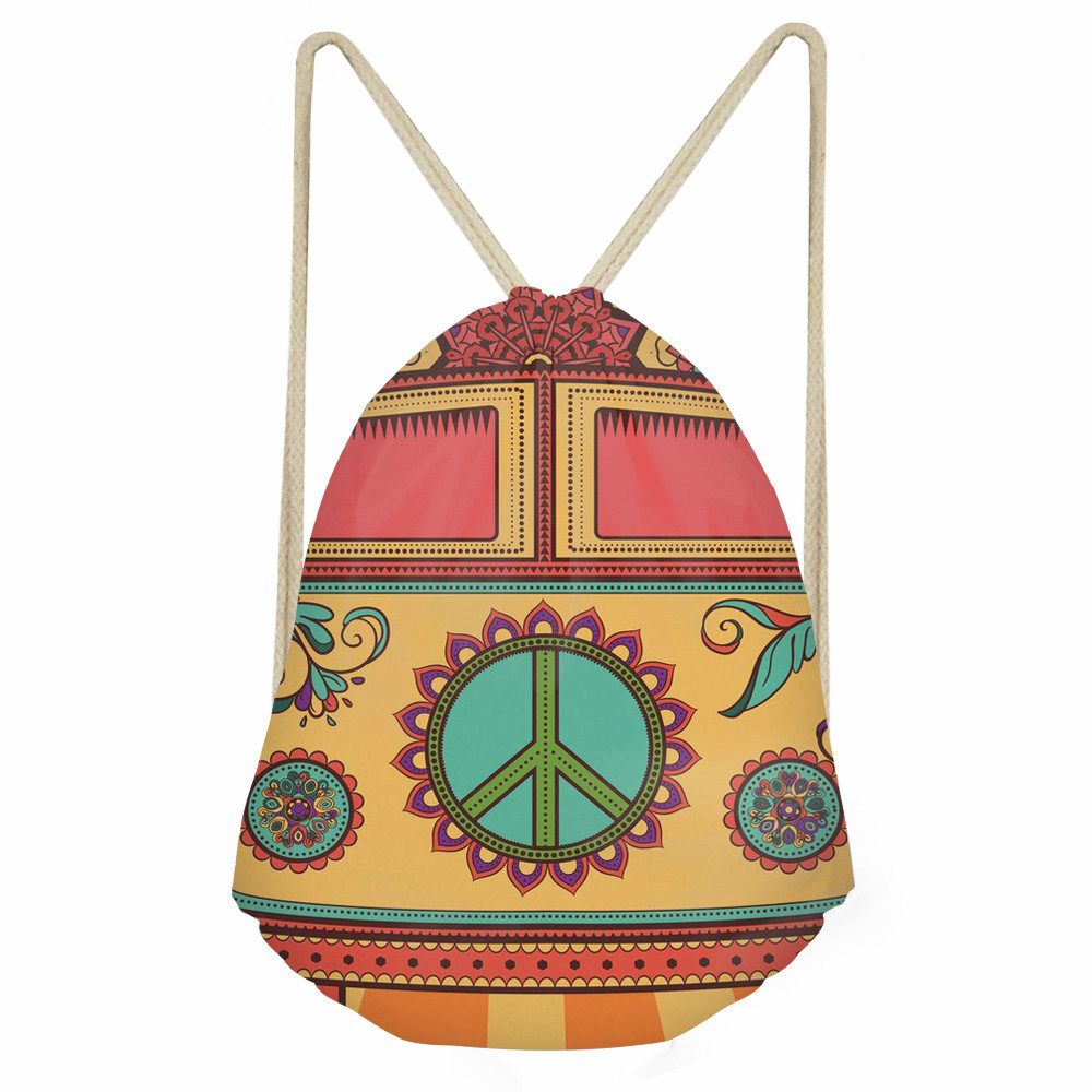 ThiKin Hippie Van Pattern Casual Drawstring Bag Girls Boys Backpacks For Teenagers School Shoulder Bag Travel Storage Pouch