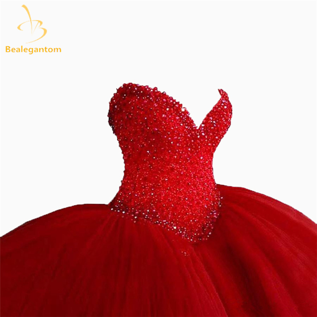 Bealegantom Red Sweetheart Quinceanera Dresses 2019 Ball Gown Beaded Sweet 16 Dress 15 Years Vestidos De 15 Anos QA1182 1