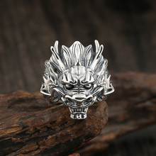 Sterling Silver S925 Retro Fashion Ring Jewelry 12 Zodiac Faucet Men's Open Wide Edition Personality Ring цена