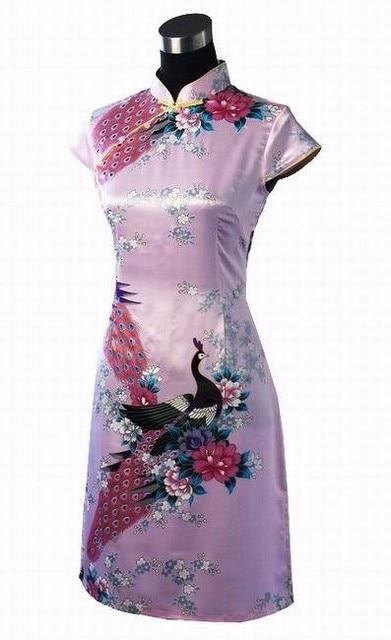 Black Print Short Sleeve Mini Dress Chinese Women Silk Rayon Qipao Short Cheongsam Peacock&Flower Size S M L XL XXL