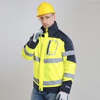 Men's Two Tone High Visibility Jacket Winter Safety Jacket Waterproof Reflective Workwear free shipping