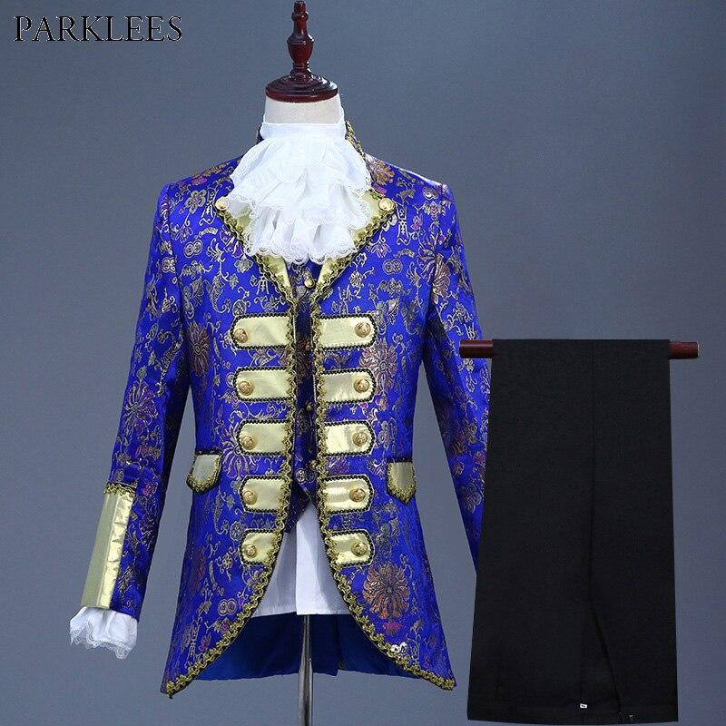 Królewski niebieski pięć komplet garniturów mężczyźni europa Gothic średniowiecza pałac w stylu garnitury męskie dramat Prom piosenkarka etap Terno masculino w Marynarki od Odzież męska na  Grupa 1