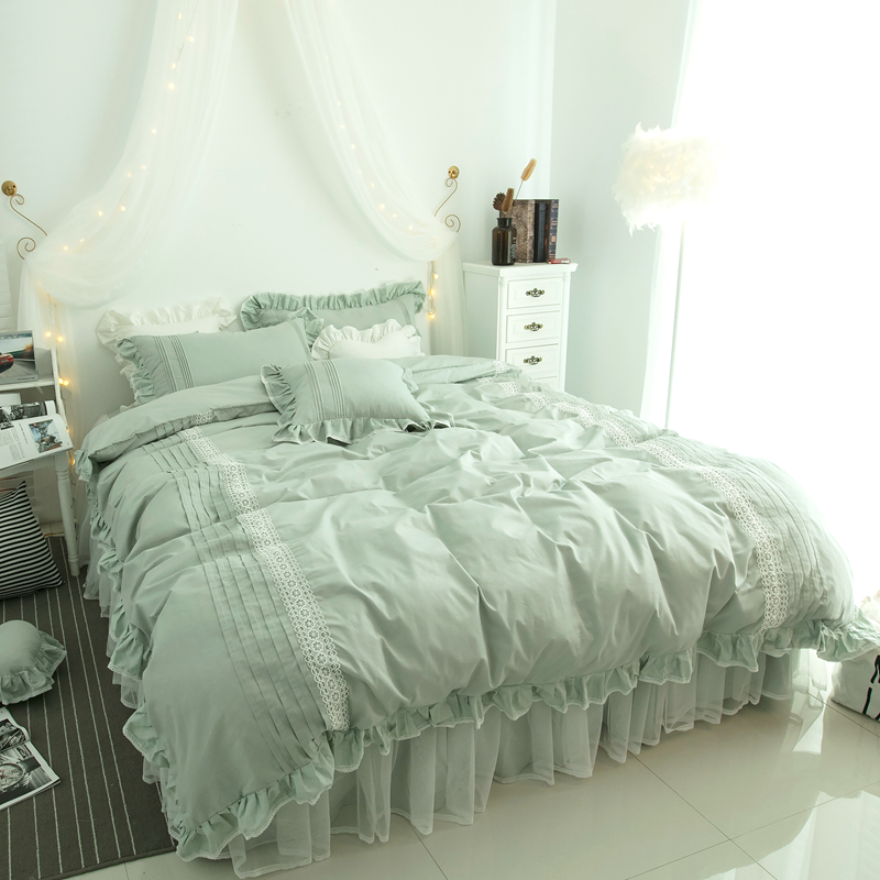Skirt Bed Set Luxury Bed Skirts Romantic Bedspreads Lace Bed Skirt Sheets U0026  Pillowcases Green Bedding Set Cotton DAMMAJF 8 In Bedding Sets From Home ...