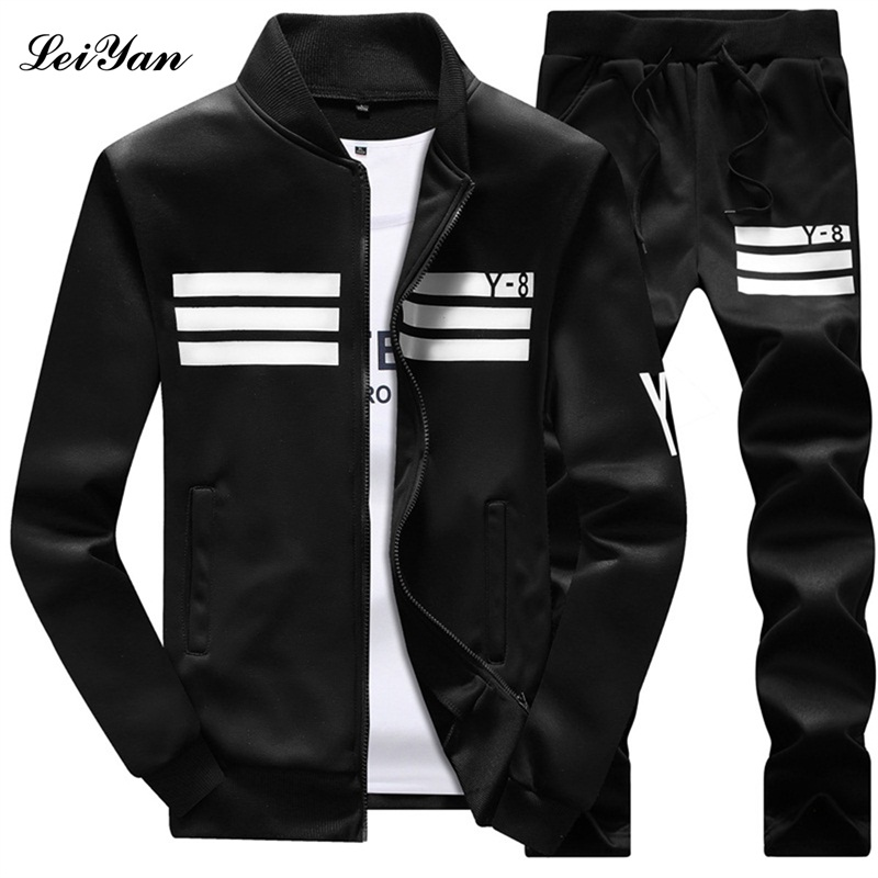 Fashion Mens Tracksuit Set sporting Plus Size track suit Hoodie male warm Fitness Stand Collar Sweatshirts men polo sweat suits