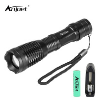 ANJOET E6 2000LM CREE XML T6 High Power LED Flashlight Aluminum LED Torch Zoomable Flash Light