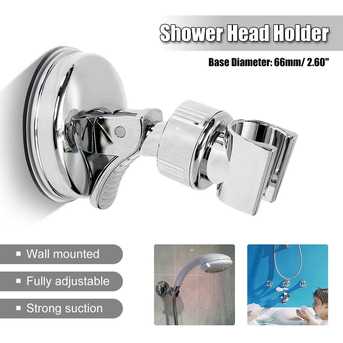 Shower Mounting Brackets Bathroom Adjustable Shower Head Holder Rack Bracket Suction Cup Wall Mounted Replacement Holder