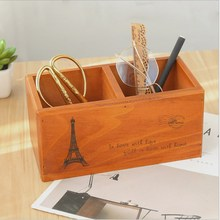 Retro Wooden Desktop Storage Box Home Living Room Miscellaneous Cosmetics Consolidation Stationery