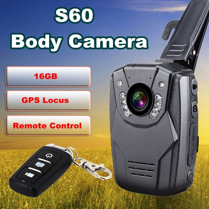 Blueskysea 2K S60 HD1296p Video Body Personal Security Police Camera WaterProof 2.0'' LCD Night Vision Record16GB GPS Remote цена