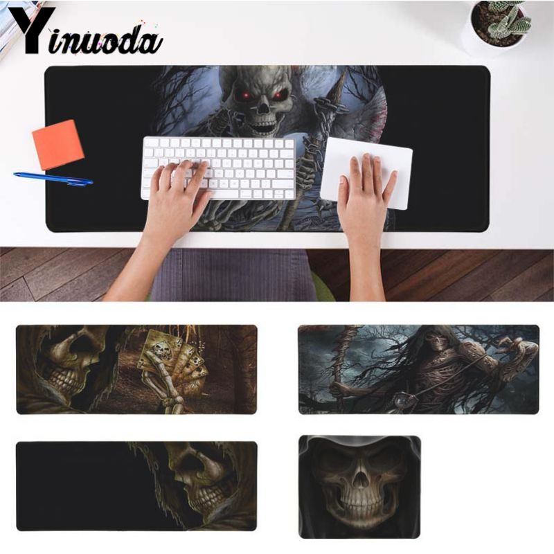 Yinuoda Non Slip PC Grim reaper skull skeleton Laptop Gaming Mice Mousepad Size for 18x22cm 20x25cm 25x29cm 30x90cm 40x90cm