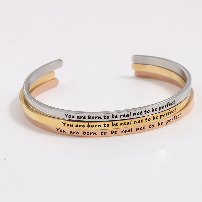 High Quality Stainless Steel Engraved Inspirational Quotes Bangle Mantra Bracelets For Women Best Gift Cuff Bangles In From Jewelry