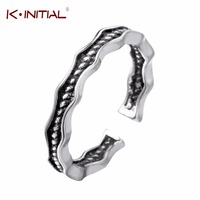 Kinitial 925 Sterling Silver Thai Silver Double Waves Twist Tiny Rings Fashion Knuckle Jewelry Twist Rings for Women Bijoux