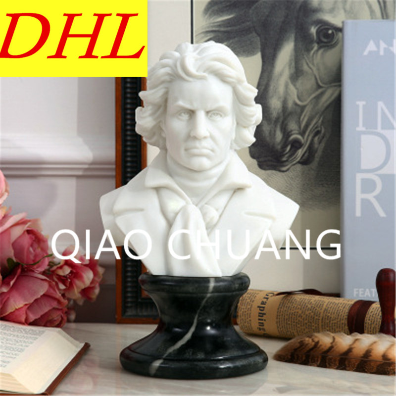 Imitation White Marble Composer Ludwig Van Beethoven BUST Statue Creative Colophony Crafts Living Room Decoration G1008 retro music ludwig van beethoven bust franz joseph haydn statue colophony crafts sketch teaching collectible decorations l2352