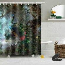 72 ''пользовательские красивое перо павлина хвост F Лес Ванная комната Душ шторы полиэстер водонепроницаемый занавес для ванной и 12 крючков