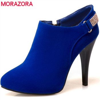 360a091a59 MORAZORA talla grande 34-45 botas para mujer moda sexy zapatos de tacón  fino para mujer botas de tobillo flock zip primavera otoño