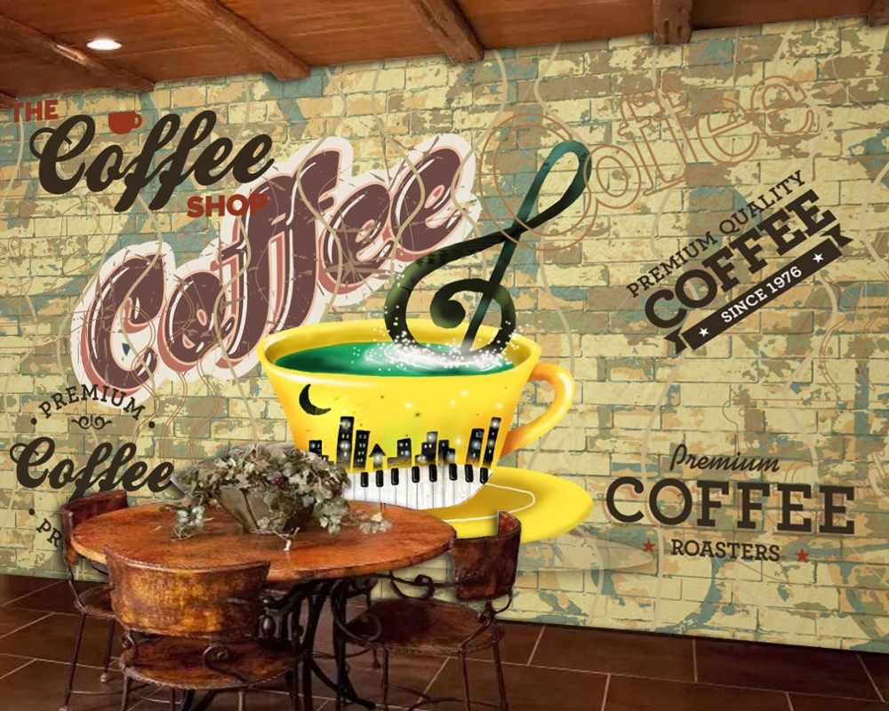 Free Shipping Cafe Bar Theme Background Wall 3d Custom