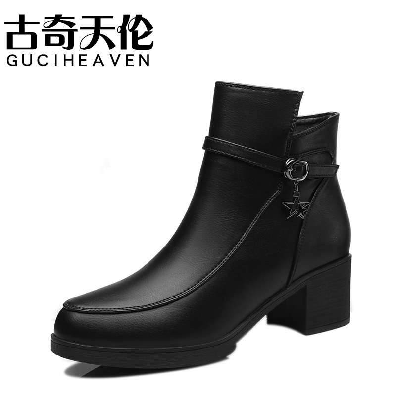Guciheaven 8456 Fashion Women British Comfortable Casual Boot Pumps Leather Shoes,Lady Round Toe Rough Heels Rubber Botas mujer босоножки guciheaven cfk8185 2015