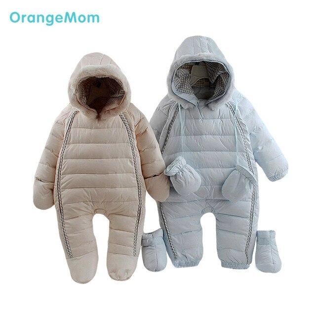 2017 мальчик snowsuit пальто малыша вниз открытый костюм младенческой зима теплая с капюшоном комбинезоны куртки комбинезон для новорожденных девочек одежда