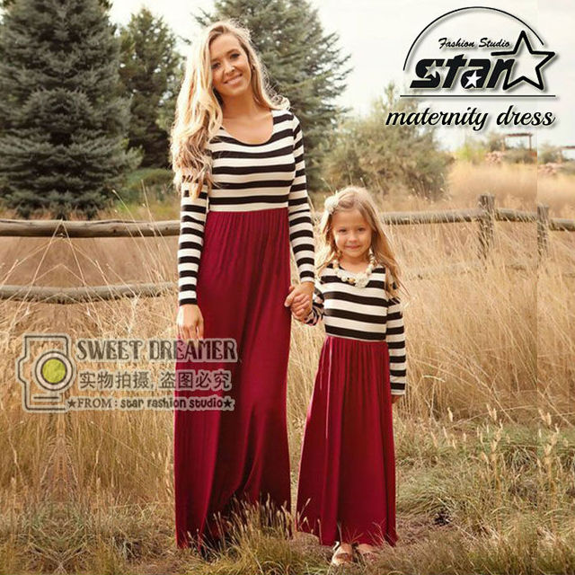 1e21f85ad0b46 Autumn Style Matching Mother Daughter Dresses Clothes Long Maxi Dress  Family Look Mommy And Me Clothes Mom And Daughter Dress-in Family Matching  ...