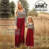 Stile di autunno Vestiti Da Madre Figlia Corrispondenza Abbigliamento Lungo Maxi Vestito Famiglia Sguardo Mommy And Me Vestiti Mamma E Figlia Vestito