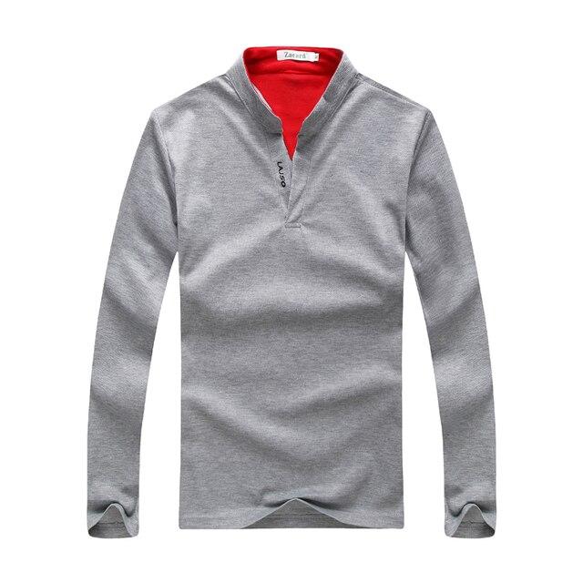 2016 nuevos Mens Camisa de Polo marca moda de alta calidad de manga larga Polo Solid Camisa Masculina Camisa de Polo T26LB1599