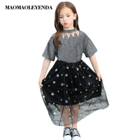 Kids Outfits for Teenage Girls 5 7 9 11 13 Years Children Clothing Summer Girls Sets Tops Star + skirt 2 pieces Sets 2019 New