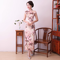 New Fashion Tradition Chinese Pink Short Sleeve Silk Satin Long Cheongsam Qipao Evening Dress Qipao Size M L XL XXL XXXL