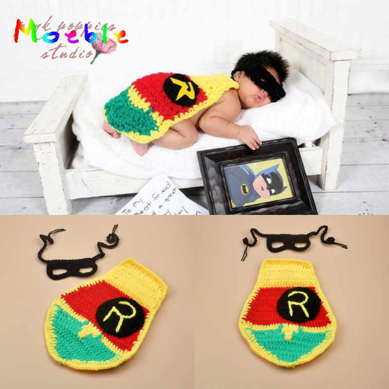 2019 Crochet Robin Sidekicke Mask&Cap Set Crochet Baby Boy Photo Props Newborn Boy Cape Newborn Photography Props 1set MZS-16001
