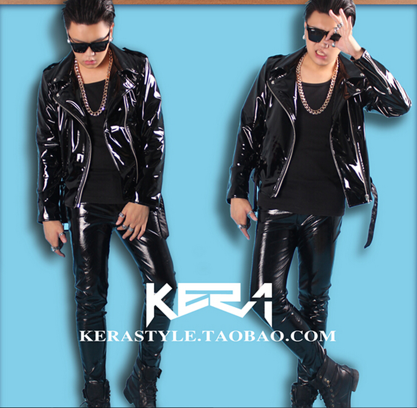 S-4XL ! 2018 NEW Mens slim DJ male singer shiny high elastic locomotive motorcycle leather jacket costumes clothing
