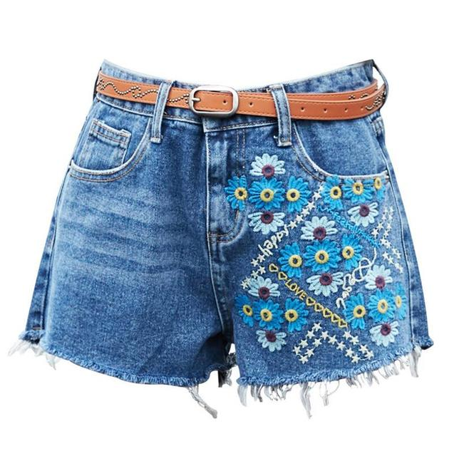 2018 vintage Floral embroidery denim shorts Women flower Embroidered shorts  Casual short jeans Hotpants Shorts femme s1683 0b8931f2116f
