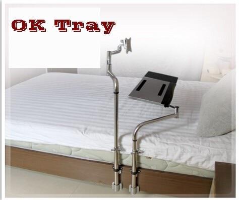 OK730 Tray Bedside Monitor Keyboard Holder Folding 360 Degree Rotation Free Lifting Swivel Tilt TV Mount Bed Edge Clamping