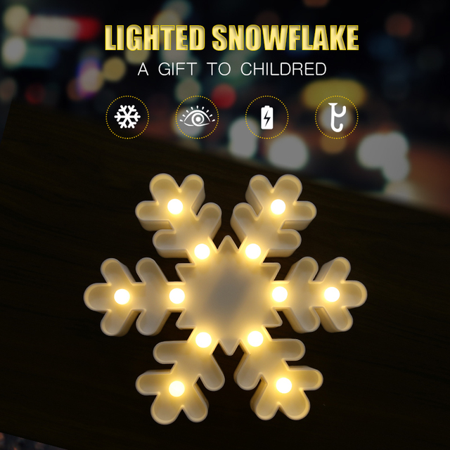 Children Bedroom Snowflake Lighting Wall Lamp Night Light Battery Ed