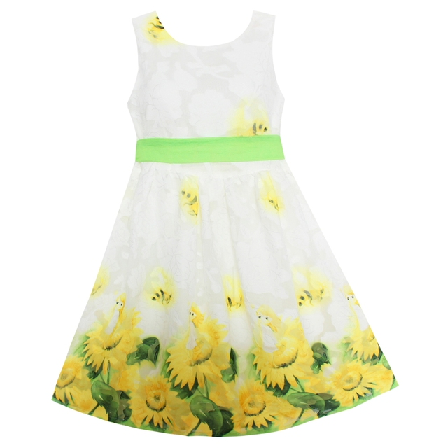 729caf11c2235 US $9.82 34% OFF|Shybobbi Fashion Girls Dress Yellow Sunflower Print Belt  Party Holiday Wedding Summer Kids Clothing Size 6 14-in Dresses from Mother  ...