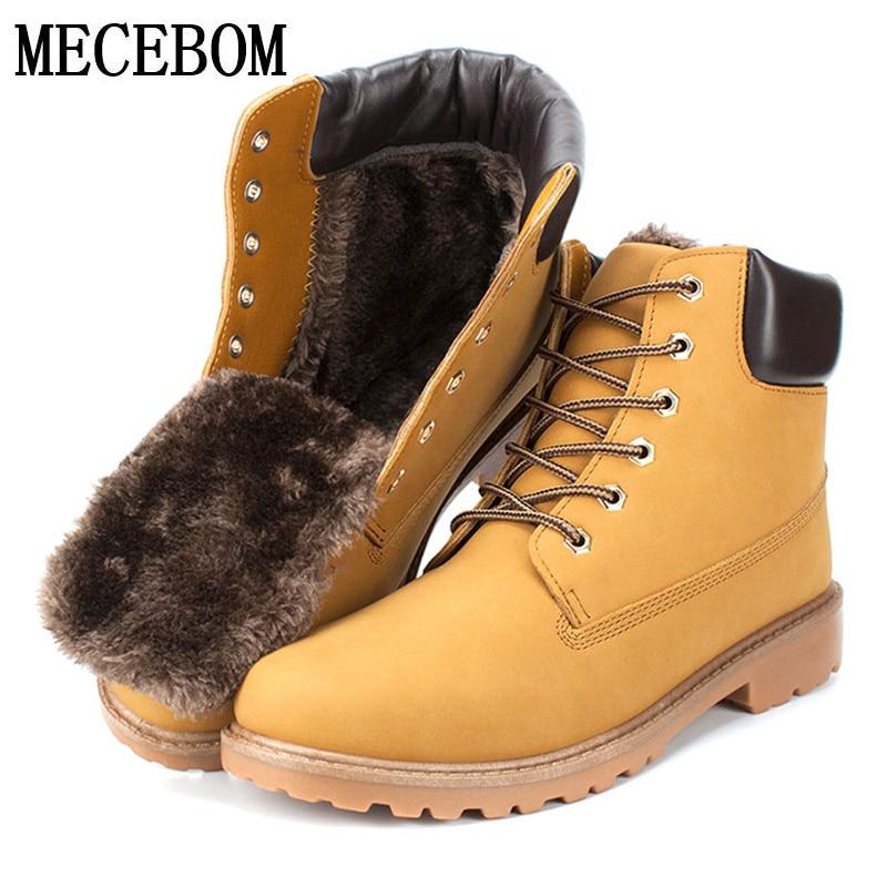 Men's Ankle Boots Big size 39-46 Autumn Winter Warm Fur Men Snow Boots Lace-up PU Men Casual Shoes Brown Botas Hombre G3M мебель page 2