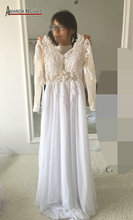 Beach Casual Long Sleeve Lace Appliqued Beading Backless Sexy Bohemian Wedding Dress 2017(China)