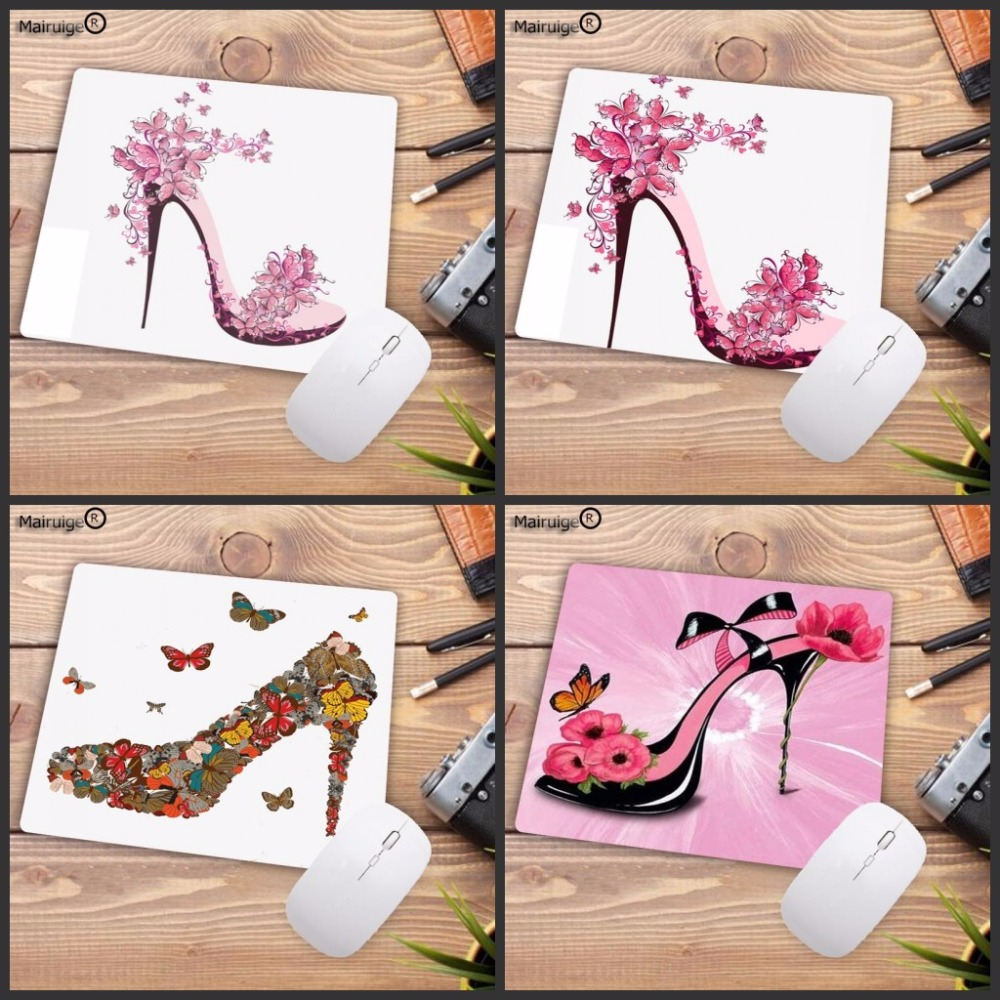 Mairuige Size 18x22cm 20x25cm Beautiful Girl Shoes With Flowers Anti-slip Mousepad Computer Mouse Pad For Optal Trackball Mouse
