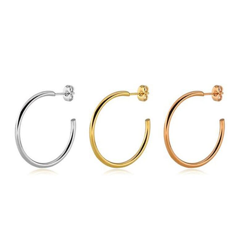 1 Pair Rose Gold Cute Hoop Earrings for Women Circle Hoops ...