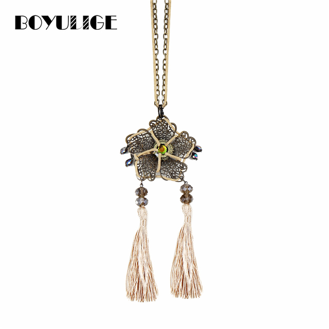 036bf98ce38dbb BOYULIGE Women Boho Bead Crystal Ethnictassel Pendant Necklace Long Leather  Rope Chain Clothing Jewelry Accessories Punk