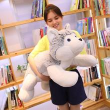 цена 1pc 60-110cm Cute Lying Husky Dog Plush Toys Stuffed Soft Dog Animal Pillow Cushion Kids Lovely Doll Girls Christmas Binquedos онлайн в 2017 году