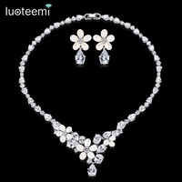 LUOTEEMI Generous Rhinestone Flower Earrings Necklace Natural Pearls With Teardrop CZ Wedding Jewelry Sets For Bride