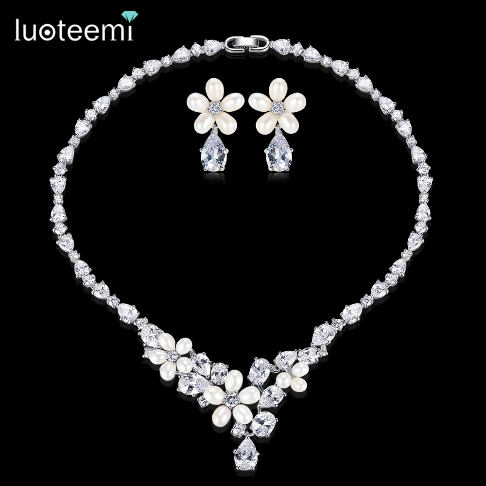 LUOTEEMI Generous Rhinestone Flower Earrings Necklace Natural Pearls with Teardrop CZ Wedding Jewelry Sets For Bride Accessories