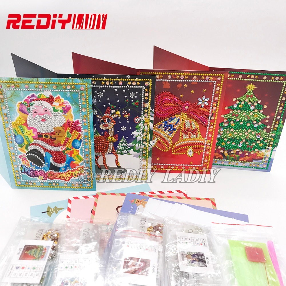 Special Shaped Diamond Painting Greeting Post Card Cartoon Santa Claus Merry Christmas Gifts Diamond Embroidery Christmas Cards