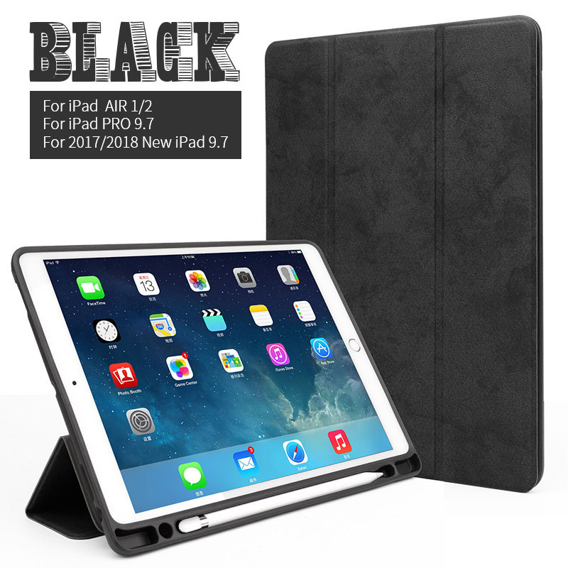 Black 9.7 inch iPad multi color case with build in pencil slot for iPad Air 1/2, pro 9.7, 2017/2018 9.7