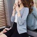 Na primavera de nova cor Coreano longa camisola camisola das mulheres casaco cardigan de manga curta frisado mão F1097